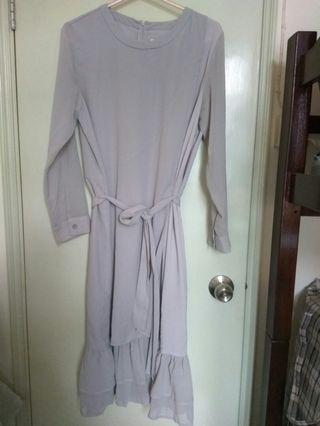 Sheer long sleeves Ruffle hem Chiffon long grey dress 灰色雪紡長裙