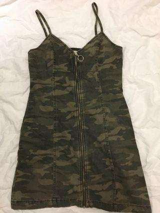 Topshop camouflage camo dress size 10