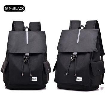 【Q夫妻】Backpack 學院風 書包 連接USB充電接口 束口包 後背包 電腦包 黑色 #B1008-2