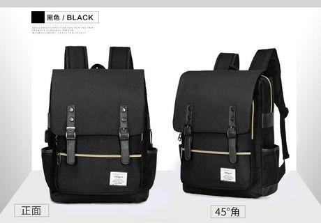 【Q夫妻】Backpack 韓版 大容量 連接USB充電接口 書包 後背包 雙肩包 帆布包 黑色  #B1022-2