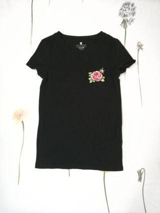 Cotton On Embroidered Rose T-shirt