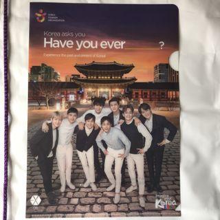 Exo Imagine Your Korea A4 Folder + Waterproof Drawstring Bag and Multi Coloured Pen