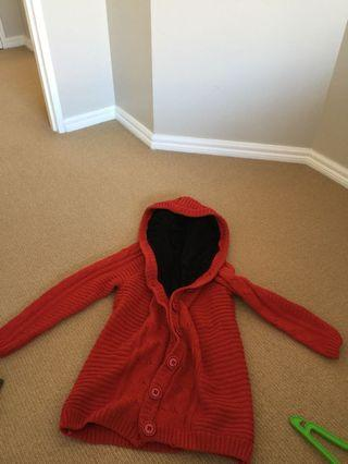 Thick knit red riding hood jacket