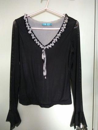 Sheer Long sleeves black top