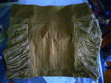 Rhinestones Brown laced skirt