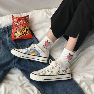 Hand Drawn Unicorn and Rainbow Sneakers