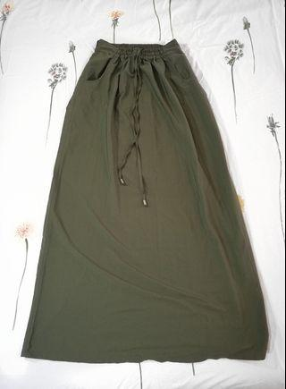 Long Olive Green Maxi Skirt