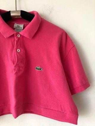 Lacoste acid hot pink polo reworked crop top