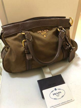 🚚 Authentic Prada BN1840 Tessuto in Brown (Corinto) Gold Hardware without Shoulder Strap