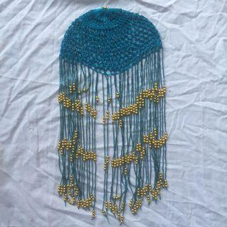 Turquoise and gold beaded head piece