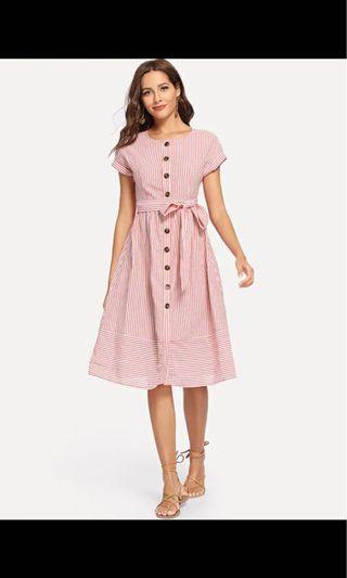 Button red stripe ribbon dress