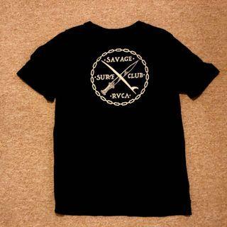 RVCA 美國衝浪品牌 SAVAGE SURF CLUB 野蠻人衝浪俱樂部 短袖T恤 黑色M號