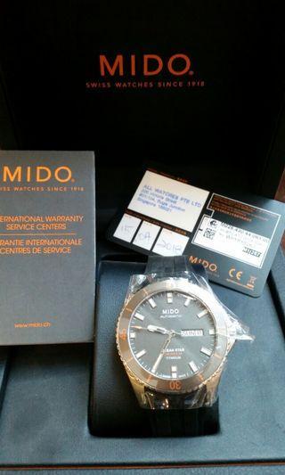 Mido Ocean Star Watch Automatic Calibre 80 Titan..Unused cards intrs