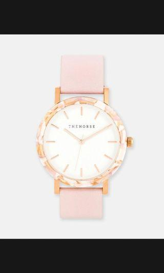 """New the Horse """"the resin"""" pink marble watch"""