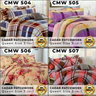 CADAR PATCHWORK SET 3 IN 1 BED SHEET [ QUEEN ] SIRI 4 WALI