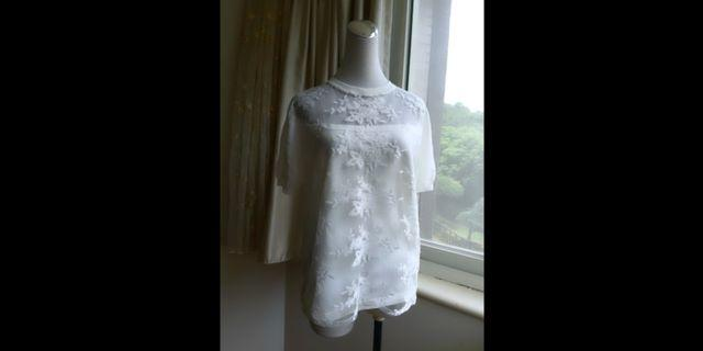 KIKI 繡花蕾絲紗網針織衫