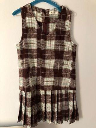 Wool checked pinafore