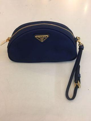 Prada blue nylon pouch come with dustbag & authenticity card