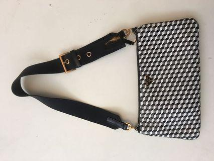 Prada black / white woven small bag come with authenticity card