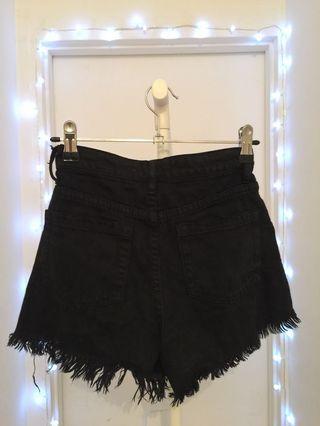 Black denim ripped shorts