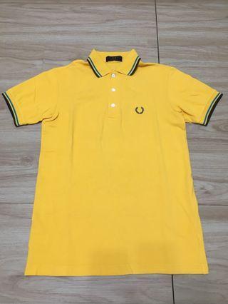 🚚 出清!Fred Perry 日線三釦式橙黃色Polo衫上衣S