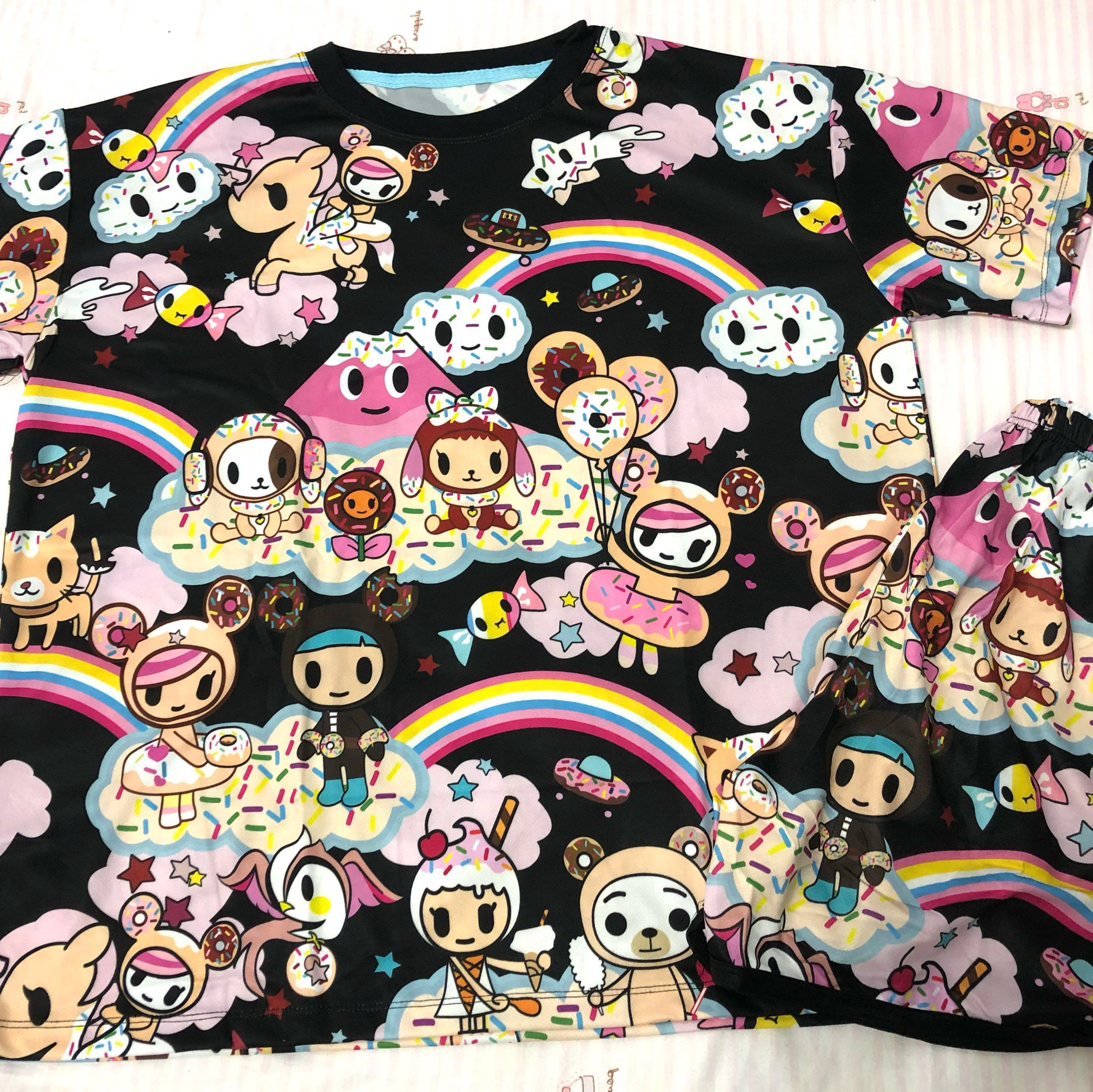 $11* Brand New Tokidoki Black Rainbow Sleepwear Set Dri-fit