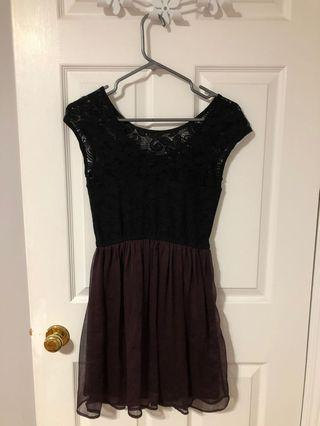 Black and Plum Lace Dynamite Dress