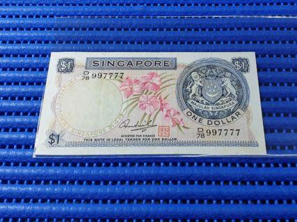 997777 Singapore Orchid Series $1 Note D/78 997777 Nice Double Digits Number Dollar Banknote Currency