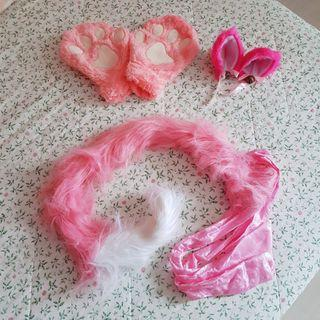 [WTS] Pink cat ears, tail and gloves set