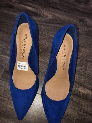 BNIB Suede Blue Heels 6.5