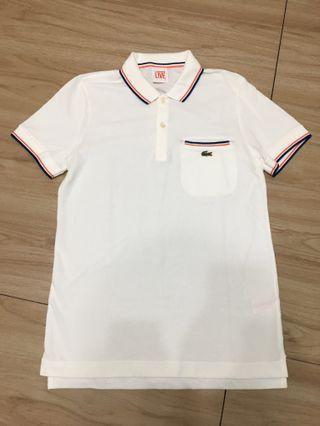 🚚 近新出清!Lacoste Live 法國配色白色Polo衫上衣3號
