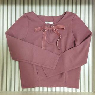 Lowry's farm 粉紅色蝴蝶結綁帶針織衫