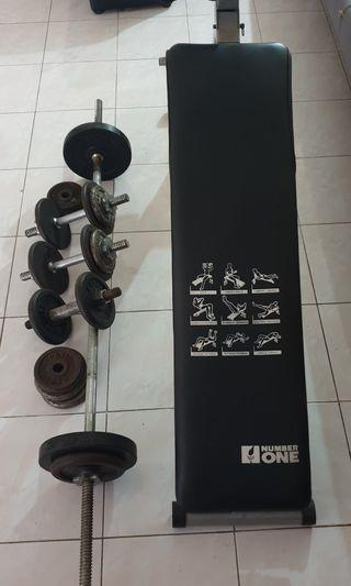 Bench and dumbell