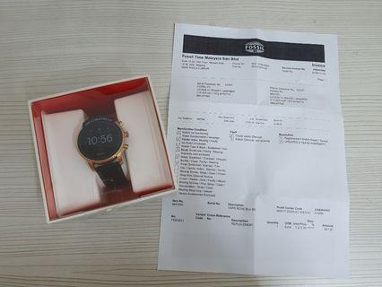 Fossil Gen 4 Explorist HR black leather smart watch with gps