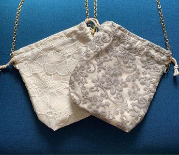 🚚 Lace Duo Purpose - Drawstring Pouch/Sling Bag
