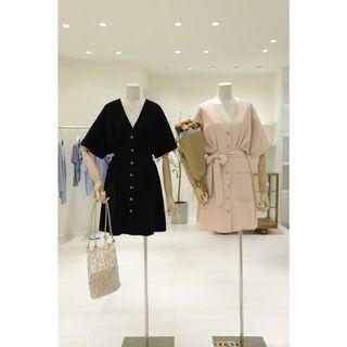 V領排釦連身洋裝