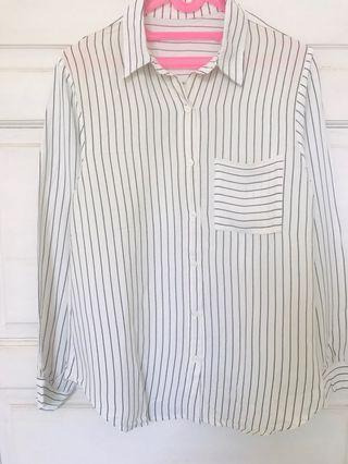 Stripe White Blouse