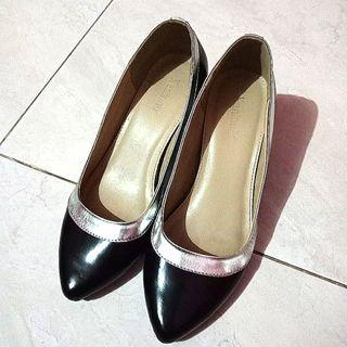 Kannina black silver heels / sepatu hak hitam silver