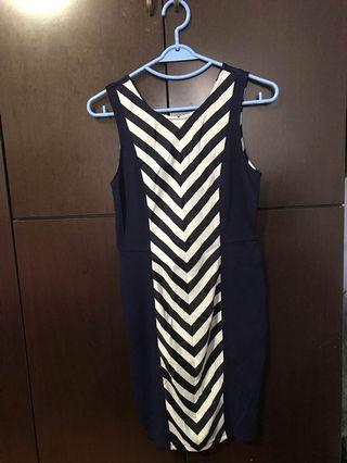 Dark Blue Striped Dress