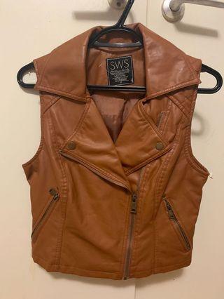 Brown Faux leather biker vest