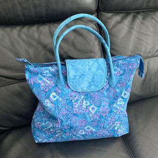 BN Batik Keris Blue with Pink Floral Batik Foldable Tote Bag @sunwalker