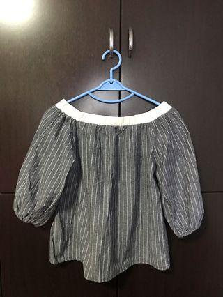 Grey colour off shoulder shirt