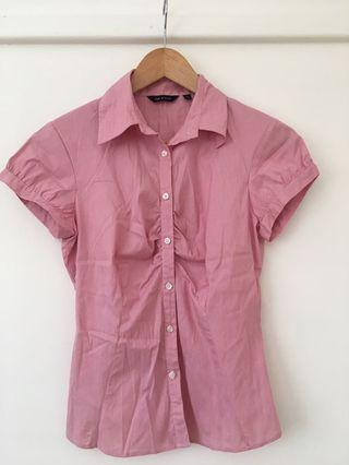 Cue collar button red striped work shirt size 8