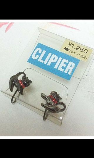 🚚 全新現貨日本帶回貓咪夾式耳環