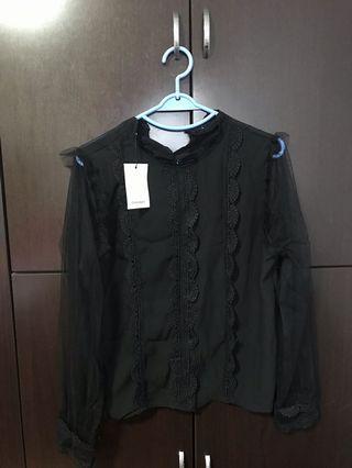 Black colour long sleeve lace shirt