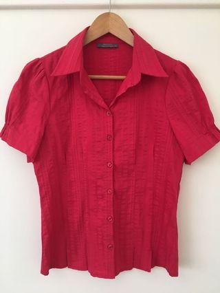 Jacqui E red collar top size 10