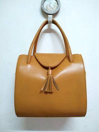 Light Brown Genuine Leather 2 Way Bag