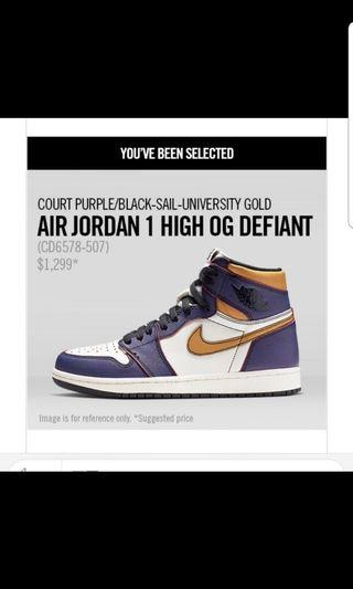 Air Jordan 1 high OG Defiant,size us11
