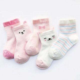 🚚 5 pairs pink animal baby socks