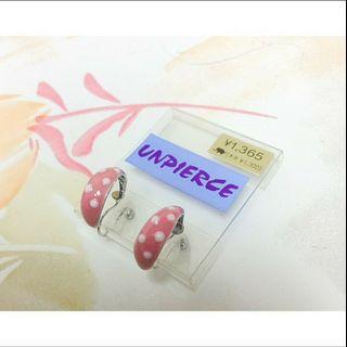 🚚 全新現貨日本帶回粉紅圈圈夾式耳環